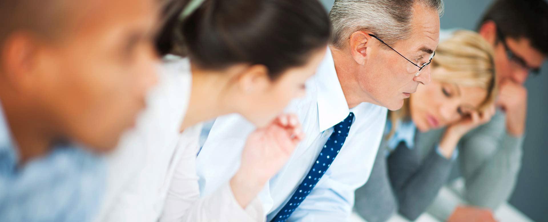 Executives in intense meeting